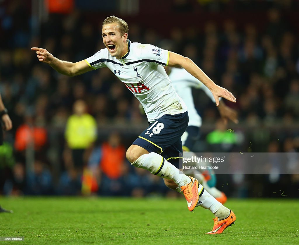 Harry Kane of Spurs celebrates scoring their second goal during the Barclays Premier League match between Aston Villa and Tottenham Hotspur at Villa Park on November 2, 2014 in Birmingham, England.