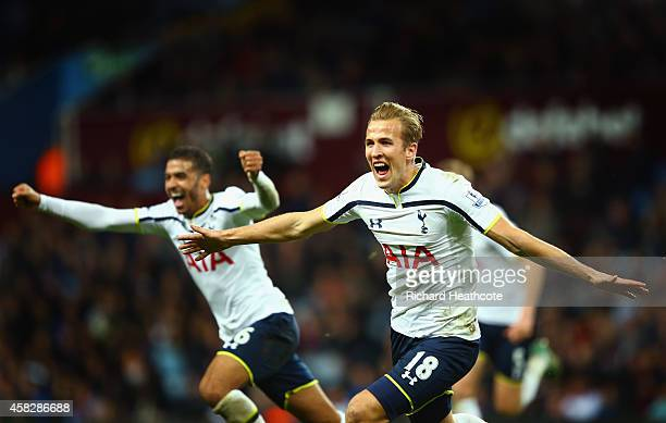 Harry Kane of Spurs celebrates scoring their second goal during the Barclays Premier League match between Aston Villa and Tottenham Hotspur at Villa...
