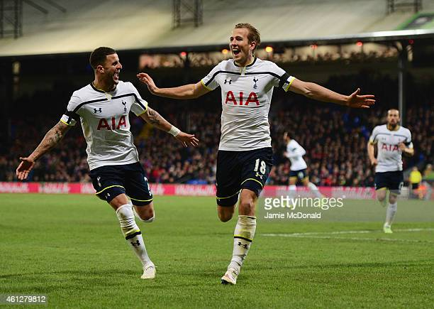 Harry Kane of Spurs celebrates with Kyle Walker as he scores their first goal during the Barclays Premier League match between Crystal Palace and...