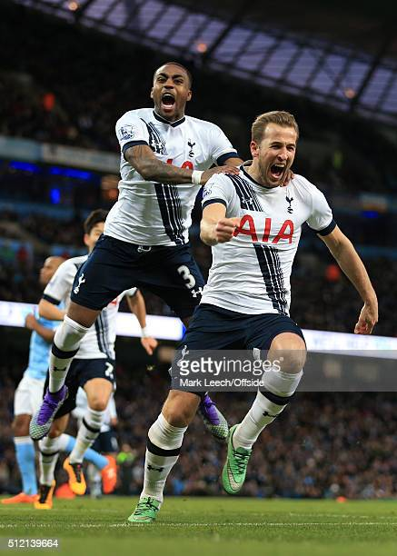 Harry Kane of Spurs celebrates with teammate Danny Rose after scoring their 1st goal during the Barclays Premier League match between Manchester City...
