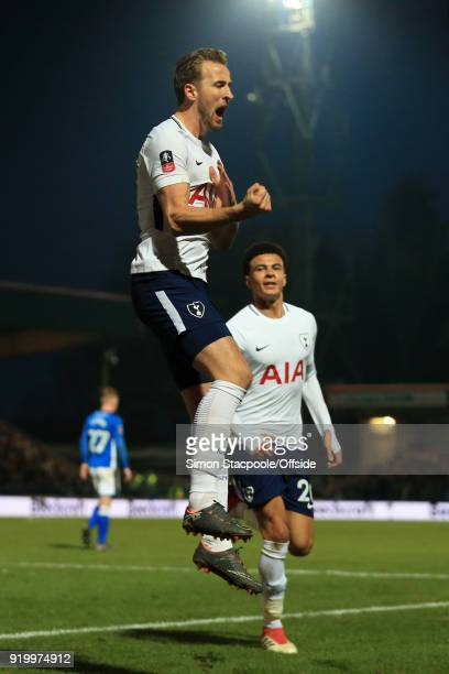 Harry Kane of Spurs celebrates with teammate Dele Alli of Spurs after scoring their 2nd goal during The Emirates FA Cup Fifth Round match between...