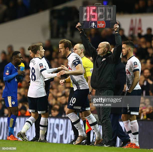 Harry Kane of Spurs comes on as a second half substitute for Tom Carroll of Spurs during The Emirates FA Cup third round match between Tottenham...