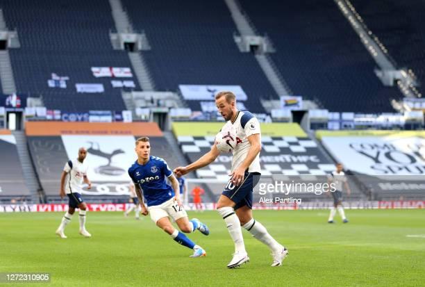 Harry Kane of Spurs controls the ball during the Premier League match between Tottenham Hotspur and Everton at Tottenham Hotspur Stadium on September...