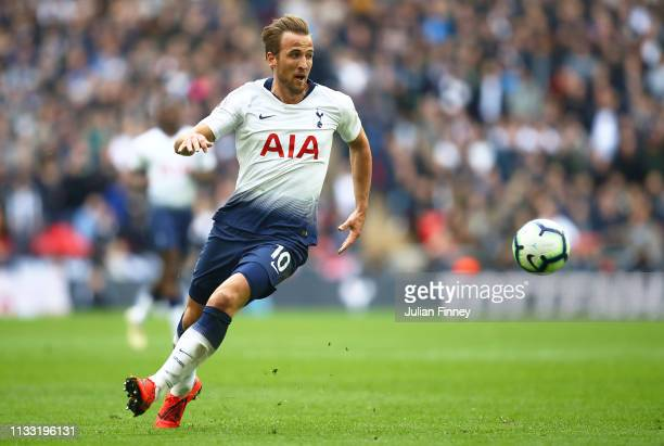 Harry Kane of Spurs in action during the Premier League match between Tottenham Hotspur and Arsenal FC at Wembley Stadium on March 02 2019 in London...