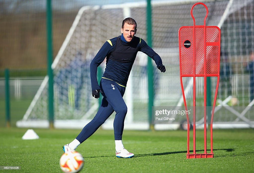 Harry Kane of Spurs on the ball during a training session ahead of the UEFA Europa League round of 32 first leg match against Fiorentina at Enfield Training Centre on February 18, 2015 in Enfield, United Kingdom.