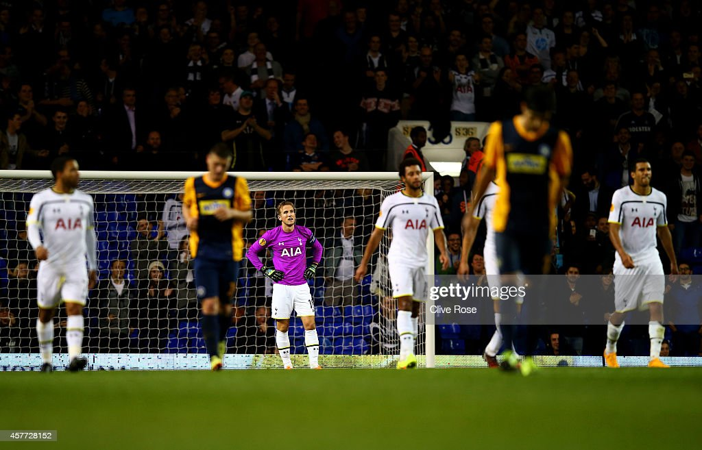 Harry Kane of Spurs reacts after conceding a goal during the UEFA Europa League group C match between Tottenham Hotspur FC and Asteras Tripolis FC at White Hart Lane on October 23, 2014 in London, United Kingdom.