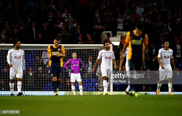 Harry Kane of Spurs reacts after conceding a goal during the UEFA Europa League group C match between Tottenham Hotspur FC and Asteras Tripolis FC at...