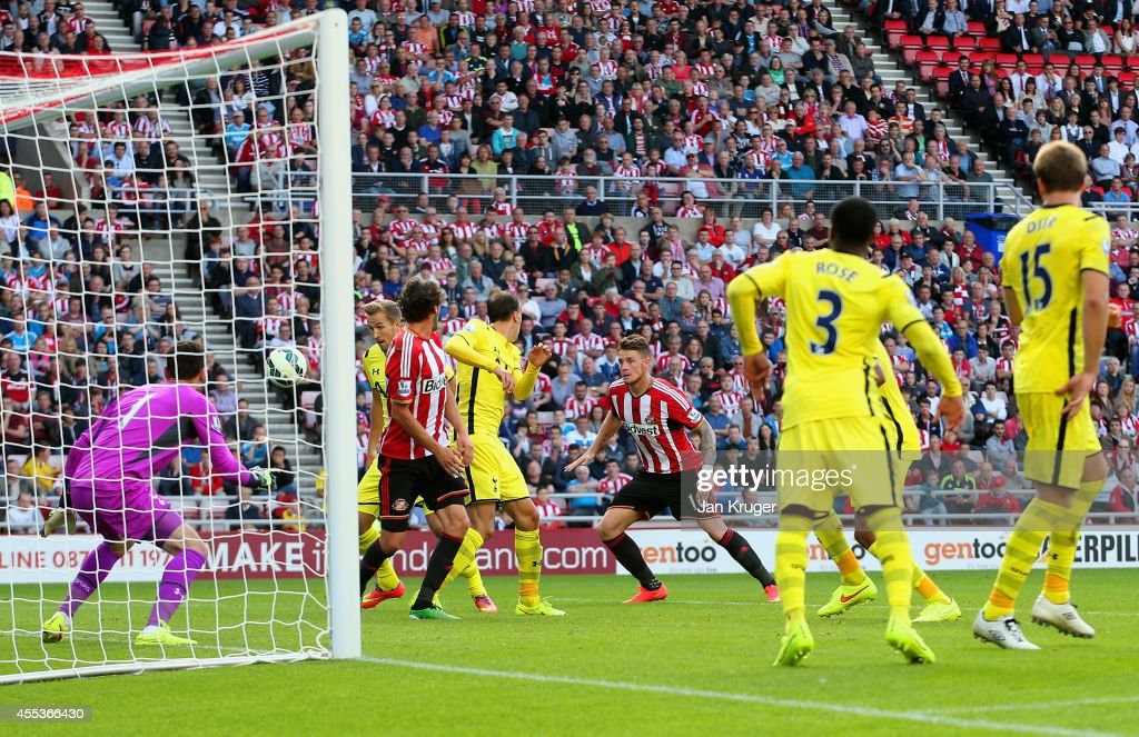 Harry Kane of Spurs scores an own goal during the Barclays Premier League match between Sunderland and Tottenham Hotspur at Stadium of Light on September 13, 2014 in Sunderland, England.