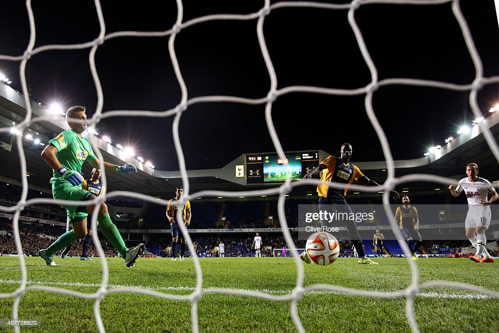 Harry Kane of Spurs scores his team's fifth and his third goal during the UEFA Europa League group C match between Tottenham Hotspur FC and Asteras Tripolis FC at White Hart Lane on October 23, 2014 in London, United Kingdom.