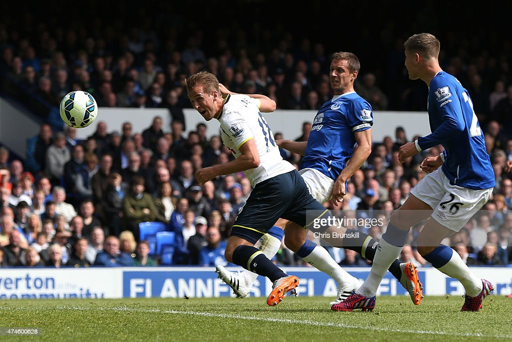 Harry Kane of Spurs scores his team's first goal during the Barclays Premier League match between Everton and Tottenham Hotspur at Goodison Park on May 24, 2015 in Liverpool, England.