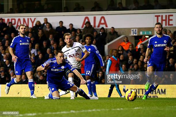 Harry Kane of Spurs scores his team's fourth goal during the Barclays Premier League match between Tottenham Hotspur and Chelsea at White Hart Lane...
