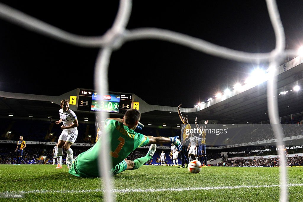 Harry Kane of Spurs scores his team's fourth goal during the UEFA Europa League group C match between Tottenham Hotspur FC and Asteras Tripolis FC at White Hart Lane on October 23, 2014 in London, United Kingdom.