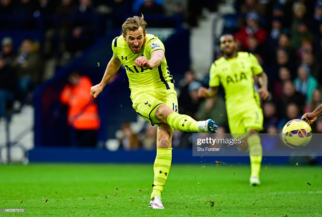 Harry Kane of Spurs scores his team's second goal during the Barclays Premier League match between West Bromwich Albion and Tottenham Hotspur at The Hawthorns on January 31, 2015 in West Bromwich, England.