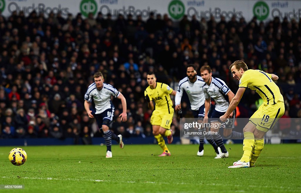 Harry Kane of Spurs scores his team's third goal from the penalty spot during the Barclays Premier League match between West Bromwich Albion and Tottenham Hotspur at The Hawthorns on January 31, 2015 in West Bromwich, England.