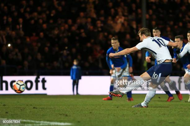 Harry Kane of Spurs scores their 2nd goal with a penalty during The Emirates FA Cup Fifth Round match between Rochdale AFC and Tottenham Hotspur at...