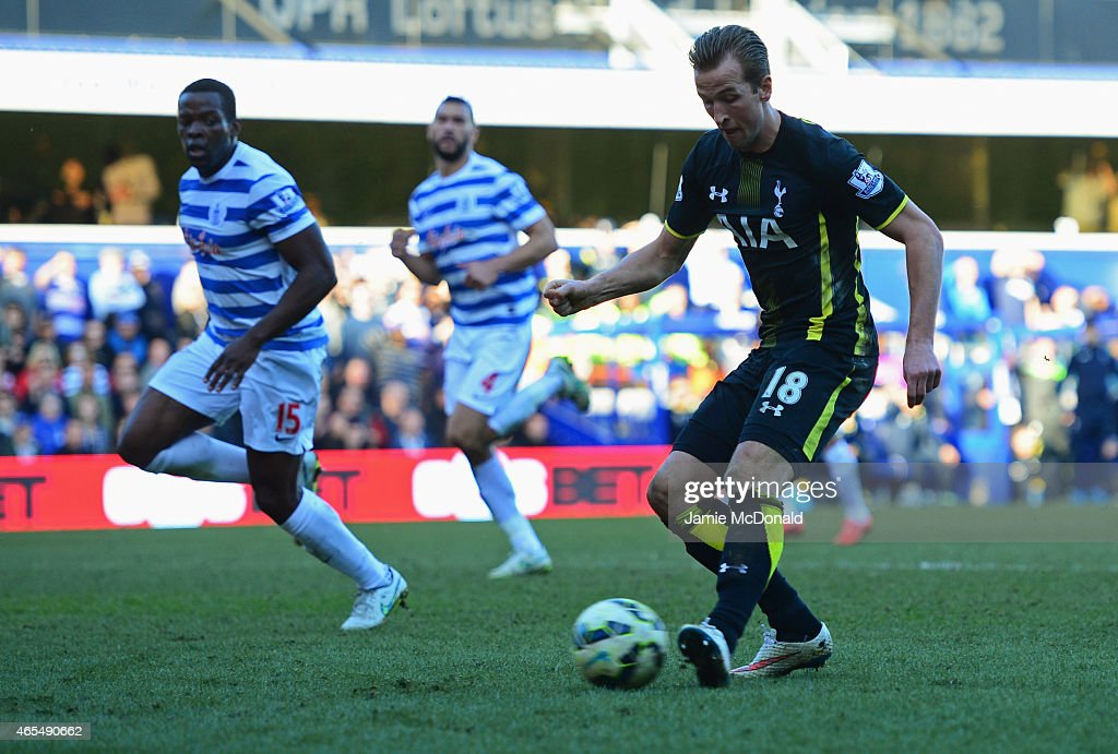 Harry Kane of Spurs scores their second goal during the Barclays Premier League match between Queens Park Rangers and Tottenham Hotspur at Loftus Road on March 7, 2015 in London, England.