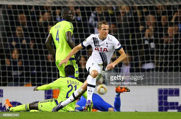 Harry Kane of Spurs turns away to celebrate after scoring the opening goal during the UEFA Europa League Group J match between Tottenham Hotspur FC...