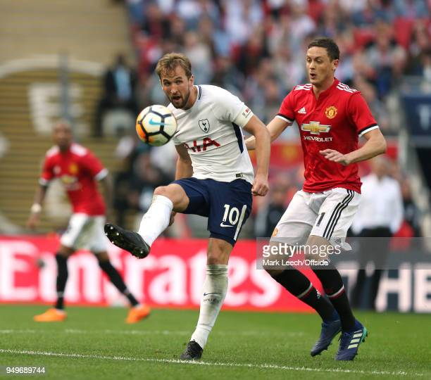 Harry Kane of Tottenham and Nemanja Matic of Man Utd of Tottenham during the FA Cup semi final between Manchester United and Tottenham Hotspur at...