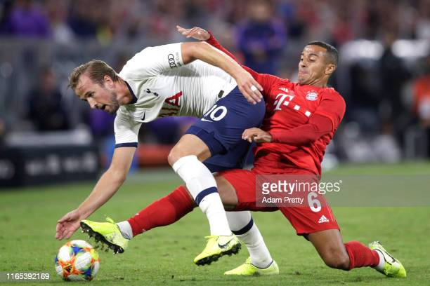 Harry Kane of Tottenham and Thiago of Bayern during the Audi cup 2019 final match between Tottenham Hotspur and Bayern Muenchen at Allianz Arena on...