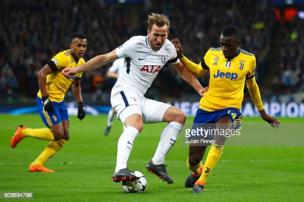 Harry Kane of Tottenham battle for the balls with Blaise Matuidi of Juventus during the UEFA Champions League Round of 16 Second Leg match between...