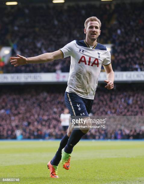 Harry Kane of Tottenham celebrates after scoring their second goal during the Premier League match between Tottenham Hotspur and Everton at White...