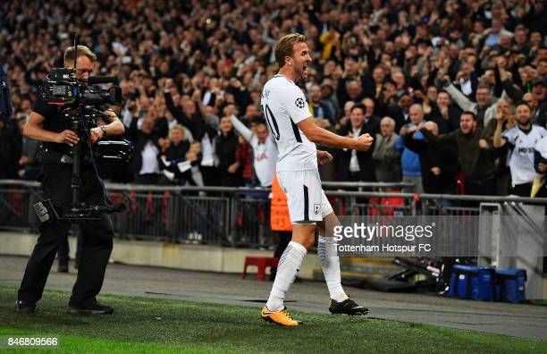 Harry Kane of Tottenham celebrates scoring his 2nd Tottenham goal during the UEFA Champions League group H match between Tottenham Hotspur and...