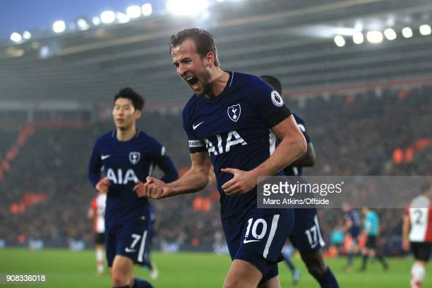 Harry Kane of Tottenham celebrates scoring their 1st goal during the Premier League match between Southampton and Tottenham Hotspur at St Mary's...