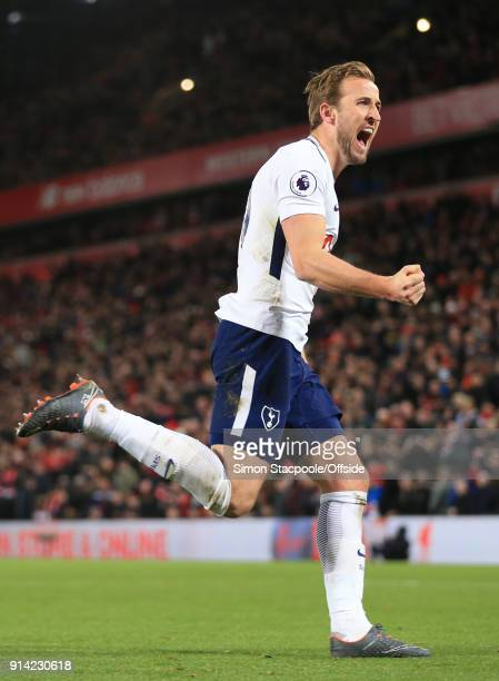 Harry Kane of Tottenham celebrates scoring their 2nd goal from the penalty spot during the Premier League match between Liverpool and Tottenham...