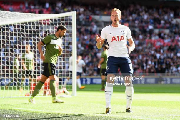 Harry Kane of Tottenham celebrates scoring to make it 10 during the preseason match between Tottenham Hotspur and Juventus at Wembley Stadium on...
