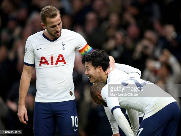 Harry Kane of Tottenham congratulates Heung-Min Son after his goal during the Premier League match between Tottenham Hotspur and Burnley FC at...