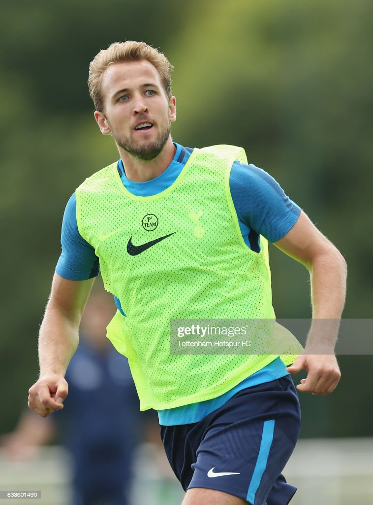 Harry Kane of Tottenham during the Tottenham Hotspur training session at Tottenham Hotspur Training Centre on August 17, 2017 in Enfield, England.