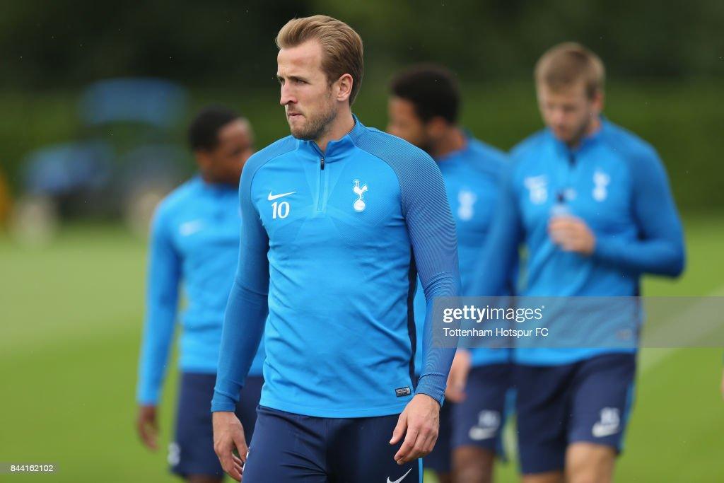 Harry Kane of Tottenham during the Tottenham Hotspur training session at Tottenham Hotspur Training Centre on September 8, 2017 in Enfield, England.