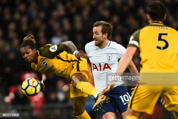 Harry Kane of Tottenham has a chance during Premier League match between Tottenham Hotspur against Brighton and Hove Albion at Wembley stadium London...