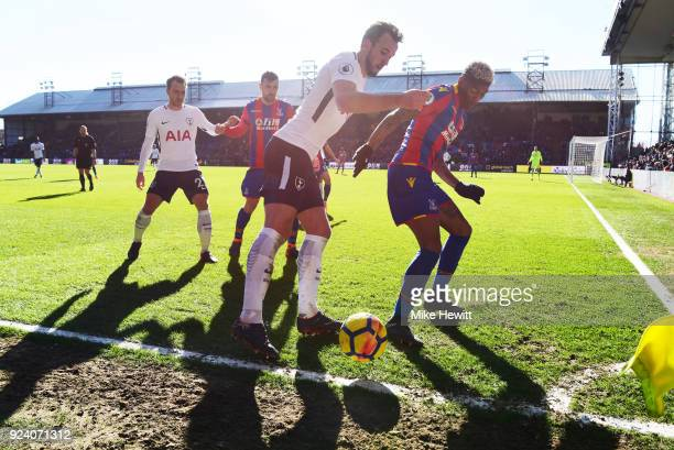 Harry Kane of Tottenham holds the ball near the corner flag during the Premier League match between Crystal Palace and Tottenham Hotspur at Selhurst...
