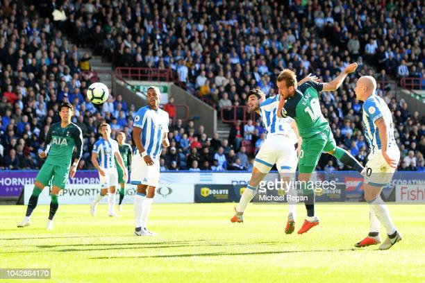 Harry Kane of Tottenham Hostspur heads in to score the opening goal during the Premier League match between Huddersfield Town and Tottenham Hotspur...