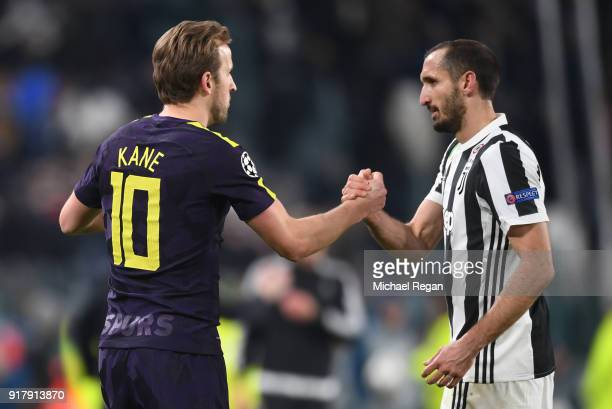 Harry Kane of Tottenham Hotpur and Giorgio Chiellini of Juventus embrace after the UEFA Champions League Round of 16 First Leg match between Juventus...