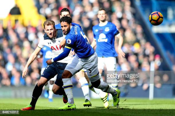 Harry Kane of Tottenham Hotspur and Ashley Williams of Everton in action during the Premier League match between Tottenham Hotspur and Everton at...