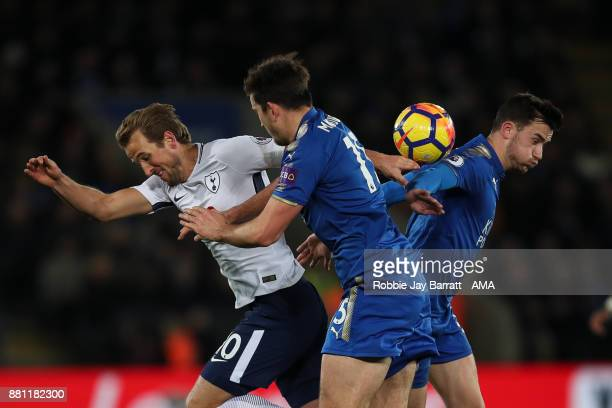 Harry Kane of Tottenham Hotspur and Ben Chilwell of Leicester City during the Premier League match between Leicester City and Tottenham Hotspur at...