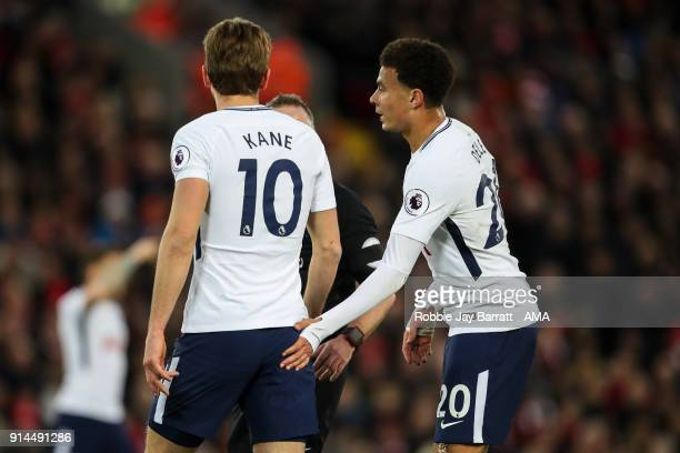 Harry Kane of Tottenham Hotspur and Dele Alli of Tottenham Hotspur during the Premier League match between Liverpool and Tottenham Hotspur at Anfield...