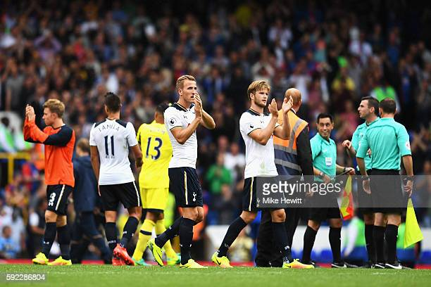 Harry Kane of Tottenham Hotspur and Eric Dier of Tottenham Hotspur claps the fans after the game during the Premier League match between Tottenham...