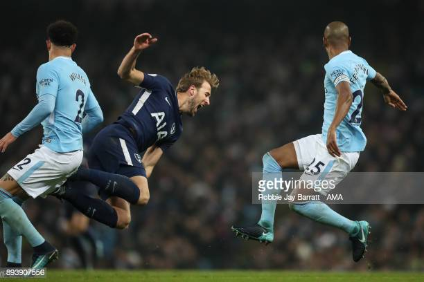 Harry Kane of Tottenham Hotspur and Fernandinho of Manchester City during the Premier League match between Manchester City and Tottenham Hotspur at...