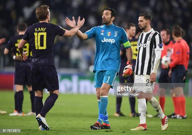 Harry Kane of Tottenham Hotspur and Gianluigi Buffon of Juventus shake hands after the UEFA Champions League Round of 16 First Leg match between...