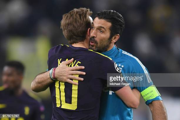 Harry Kane of Tottenham Hotspur and Gianluigi Buffon of Juventus shake hands after the UEFA Champions League Round of 16 First Leg match between...