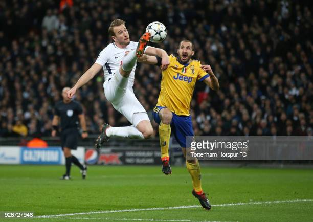 Harry Kane of Tottenham Hotspur and Giorgio Chiellini of Juventus battle for the ball during the UEFA Champions League Round of 16 Second Leg match...