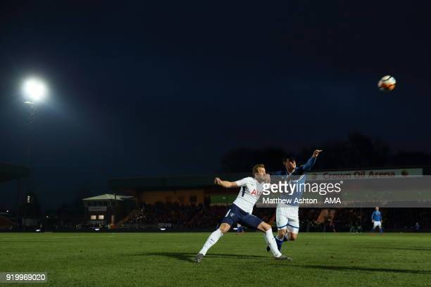 Harry Kane of Tottenham Hotspur and Harrison McGahey of Rochdale during The Emirates FA Cup Fifth Round match between Rochdale and Tottenham Hotspur...