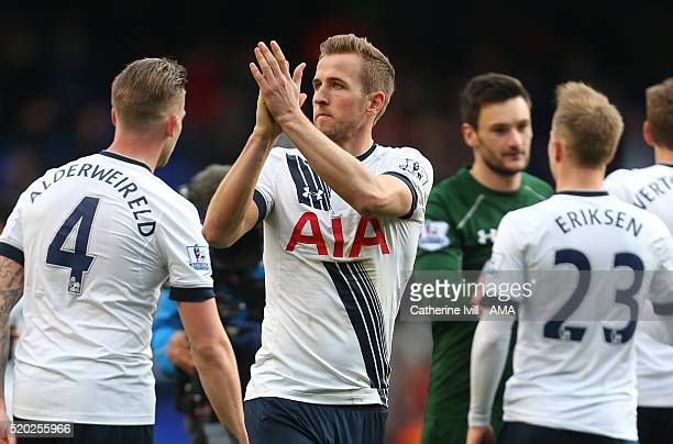 Harry Kane of Tottenham Hotspur applauds after the Barclays Premier League match between Tottenham Hotspur and Manchester United at White Hart Lane...