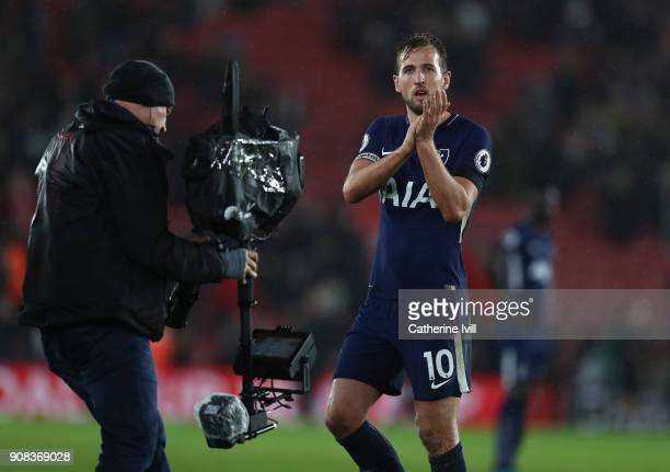 Harry Kane of Tottenham Hotspur applauds as he is filmed by the televisin camera after the Premier League match between Southampton and Tottenham...