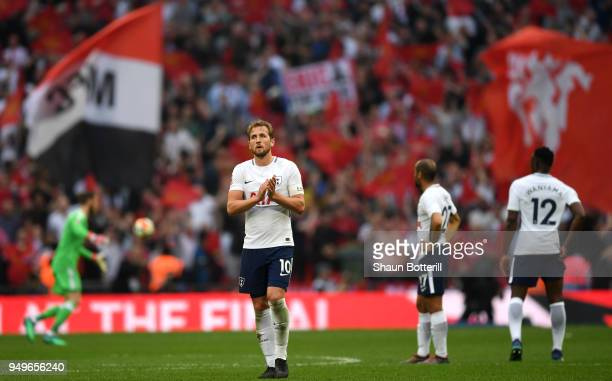 Harry Kane of Tottenham Hotspur applauds fans after The Emirates FA Cup Semi Final match between Manchester United and Tottenham Hotspur at Wembley...