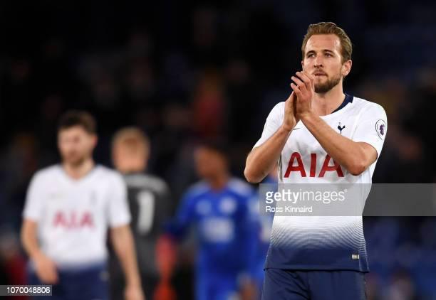 Harry Kane of Tottenham Hotspur applauds fans after the Premier League match between Leicester City and Tottenham Hotspur at The King Power Stadium...