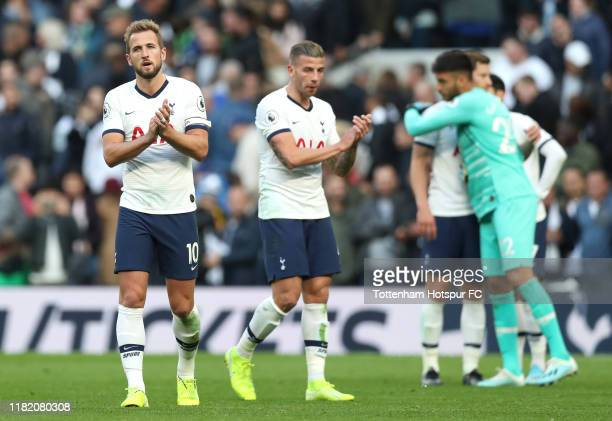 Harry Kane of Tottenham Hotspur applauds fans following the Premier League match between Tottenham Hotspur and Watford FC at Tottenham Hotspur...